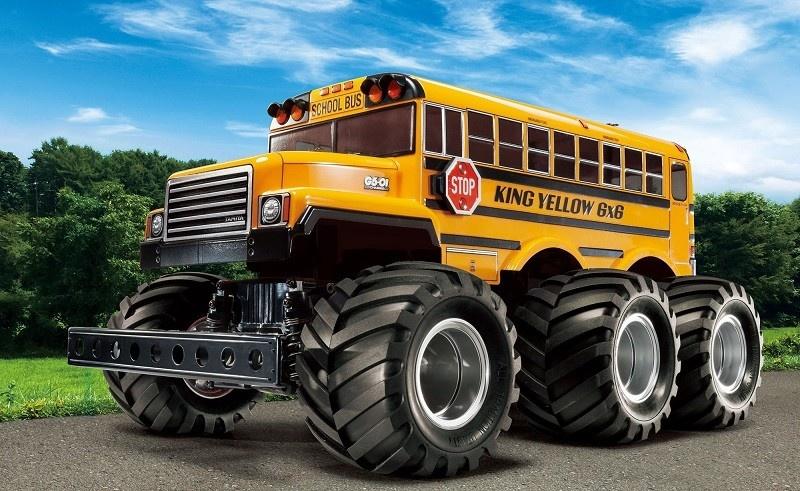 Tamiya RC King Yellow 6x6 Bus Lack. G6-01 Bausatz 1:18
