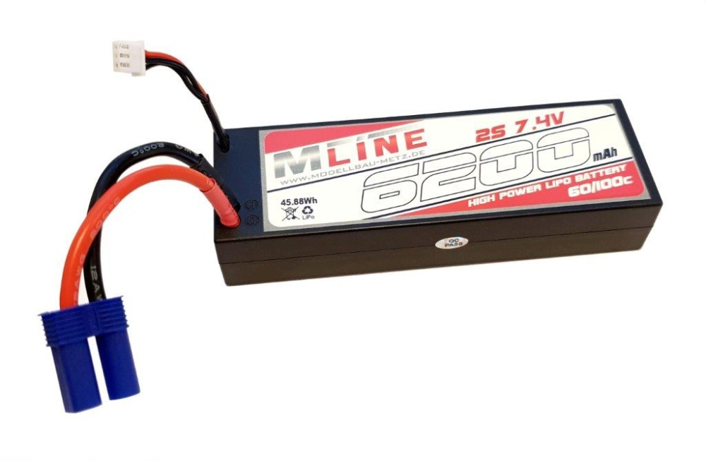 MLine High Power LiPo Akku 60C 2S 7,4V 6200mAh EC5-Stecker
