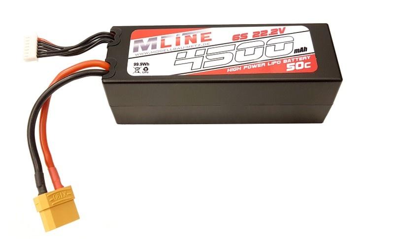 MLine High Power LiPo Akku 50C 6S 22.2V 4500mAh XT90