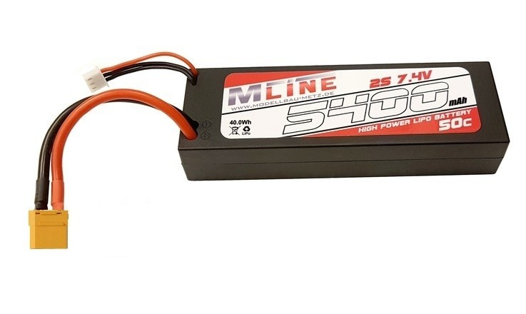 MLine High Power LiPo Akku 50C 2S 7.4V 5400mAh XT90
