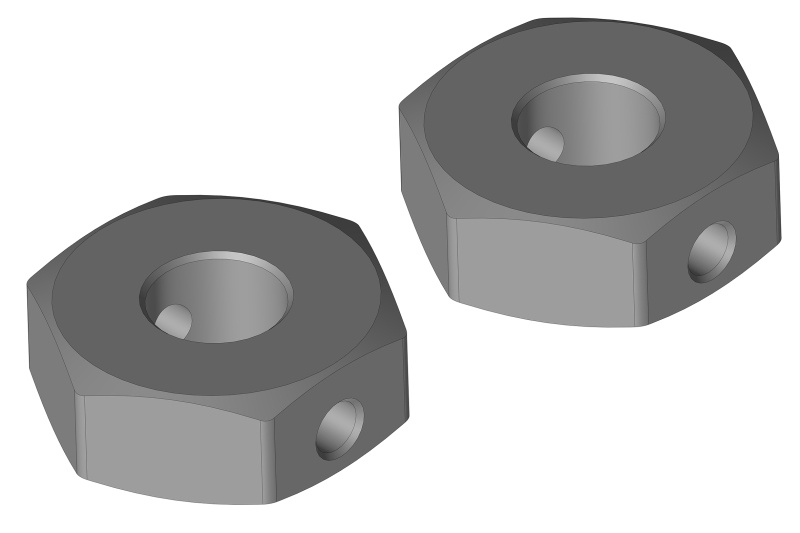 Team Corally Wheel Hex Adapter - Rear - Aluminum - 2pcs