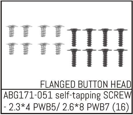 Absima Button Head Screw M2.3*4 (8) / M2.6*8 (8)