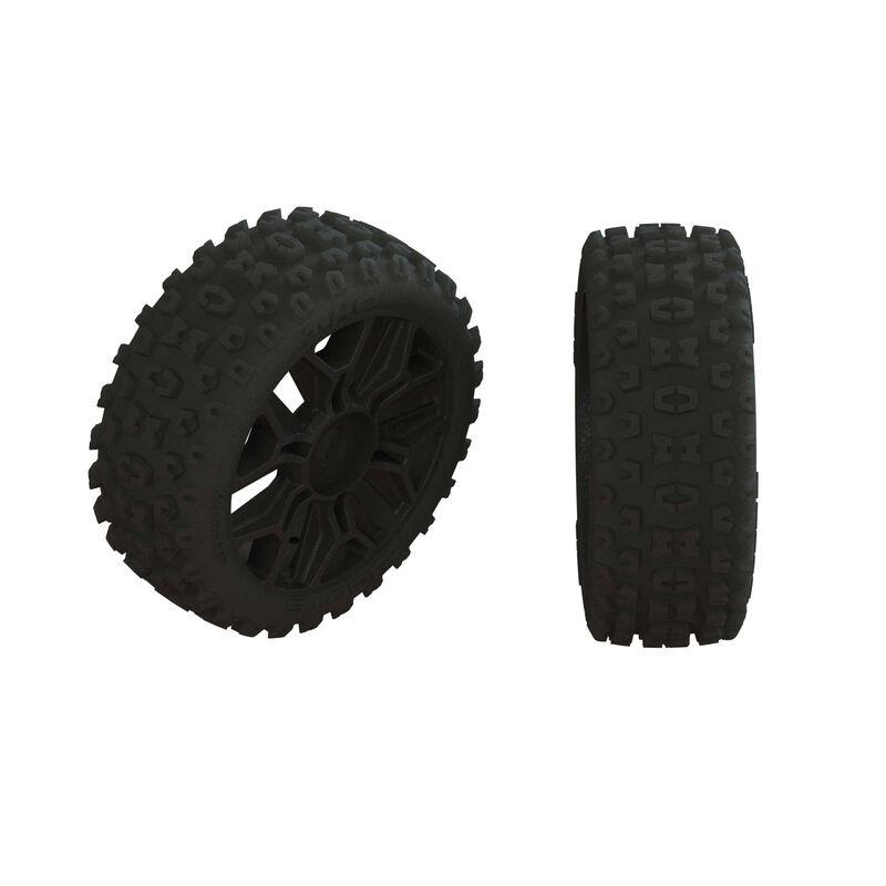 Arrma Dboots 2HO Tire Set Glued Gun Metal (2) (ARA550088)