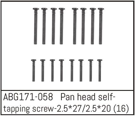 Absima Pan Head Screw M2.5*27 (8) / M2.5*20 (8)