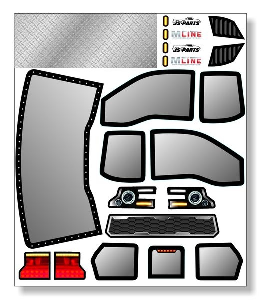 JS-Parts Karosseriedecals für X-Maxx Unbreakable Raptor