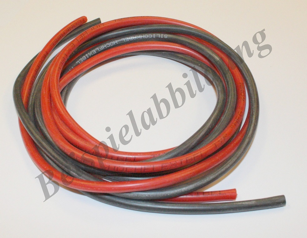Silikonkabel rot Länge 1m, Querschnitt 4,00mm²