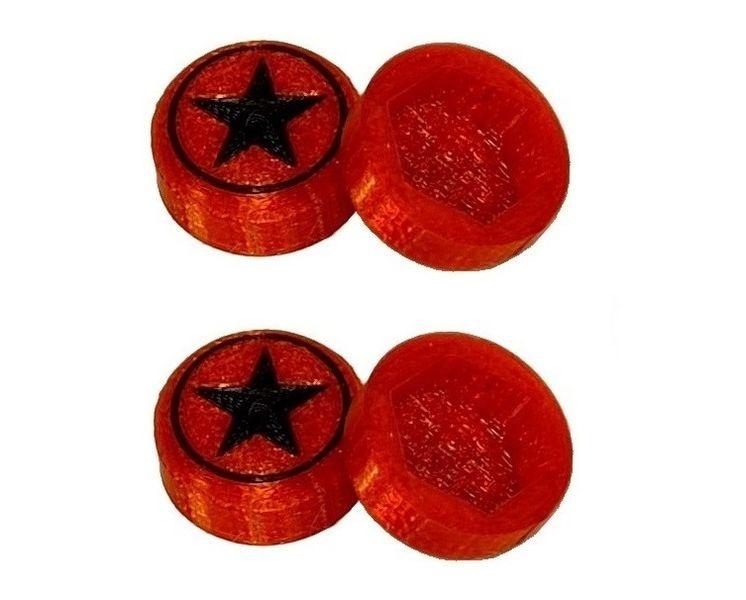 JS-Parts Radnaben-Abdeckung Star rot/schwarz 1/8 17mm