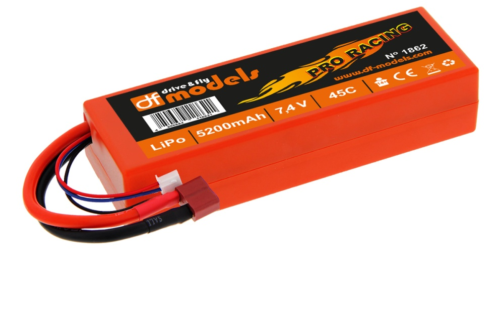 DF Lipo 7,4 Volt - 2S 7,4 Volt - 5200mAh - 45C - eckig