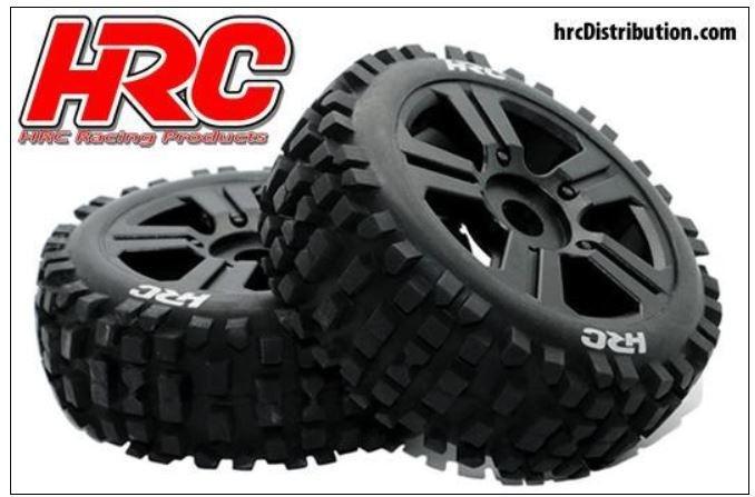 HRC Bulldog Buggy Reifen 1:8 montiert schwarze Felgen (2)