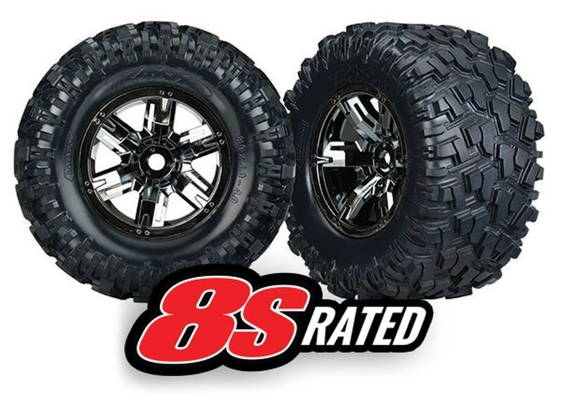 Traxxas Tires & wheels, assembled, glued (X-Maxx black