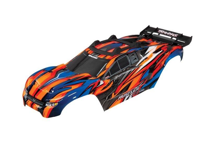Traxxas Karo Rustler 4X4 VXL orange +Decals m. Karohalterung
