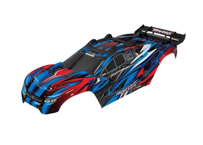 Traxxas Karo Rustler 4X4 VXL blau +Decals mit Karohalterung