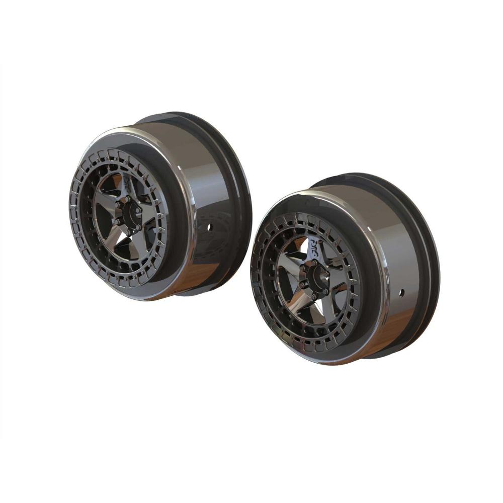 Arrma 1/10 SC Front/Rear 2.2/3.0 Wheels, 14mm Hex, Black