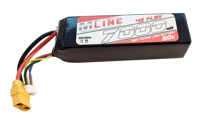MLine High Power LiPo Akku 50C 4S 14.8V 7000mAh XT90