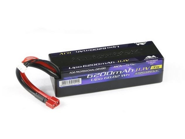 Arrowmax LiPo 6200mAh 3S - 11.1V 55C Continuos 110C Burst