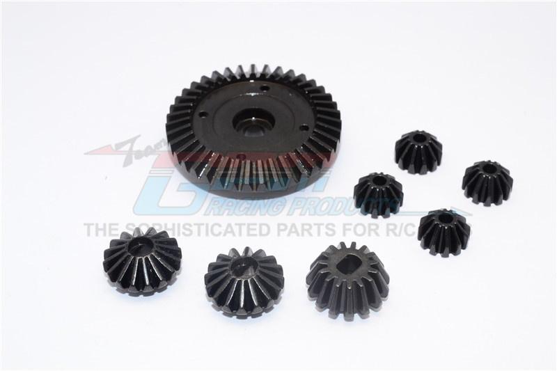 GPM steel ring gear & bevel gear - 8PCS for Tamiya TT-02 &