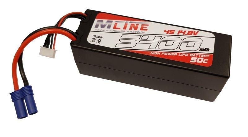 MLine High Power LiPo Akku 50C 4S 14.8V 5.400mAh EC5-Plug