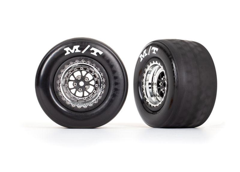 Traxxas Reifen auf Felge montiert chrom hinten (2)