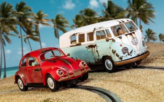 Auslauf - Scalextric 1:32 VW Beetle/Camper Van - W.C. Rat HD