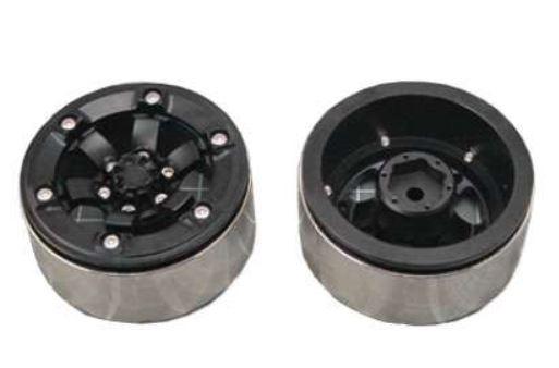 Amewi 48.2mm CNC Felgen, Alu D90 schwarz 5-Speichen-Design,