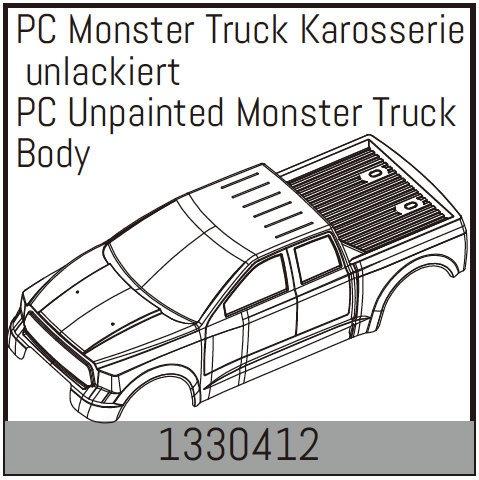 Absima PC Monster Truck Karosserie unlackiert