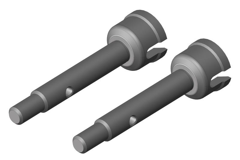 Team Corally Wheel Shaft - Rear - Steel - 2 Pcs