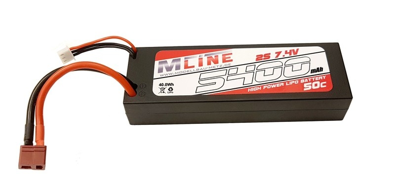 MLine High Power LiPo Akku 50C 2S 7.4V 5400mAh T-Plug