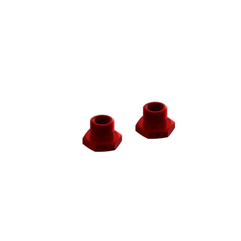 Arrma Aluminum Wheel Hex 17mm 14.6mm Thick Red (2)