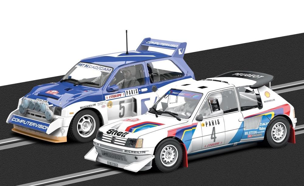 Scalextric MC Rally Peugeot 205 T16 E2/M6 Metro 6R4 Set