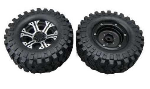 Amewi 48.2mm CNC Felgen Reifen Set D90, silber, 6-Speichen,