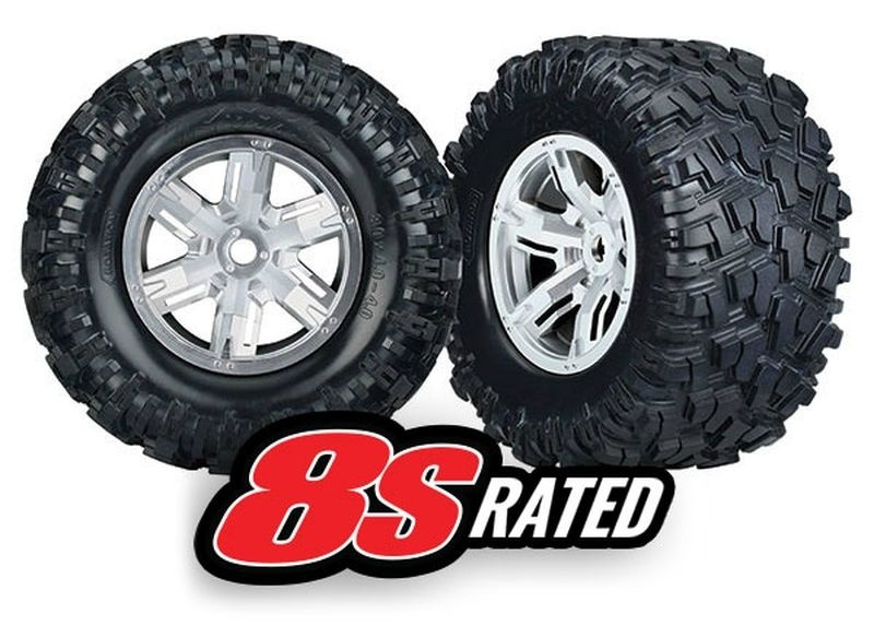 Traxxas Tires & wheels, assembled, glued (left & right)