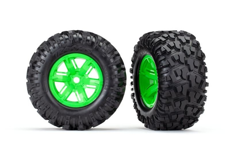 Traxxas Reifen auf Felge X-Maxx grün, Maxx AT Reifen (2)