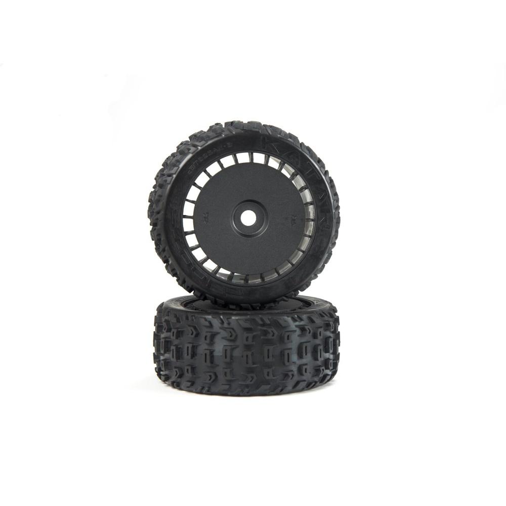 Arrma dBoots Katar T Belted 6S Tire Set Glued (Blk) (2)